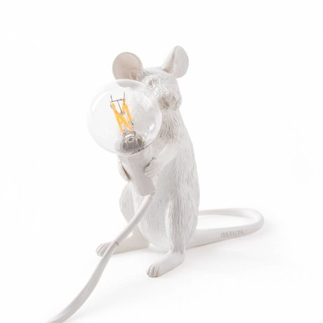 Seletti Tafellamp Mouse wit kunststof 6,2x15x12cm