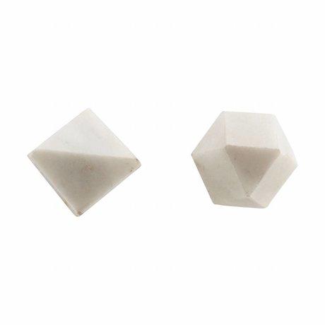 Housedoctor Wandknop Cubes set van 2, wit marmer ø2,2cm