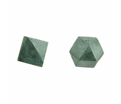 Housedoctor Wandknop Cubes set van 2, groen marmer ø2,2cm