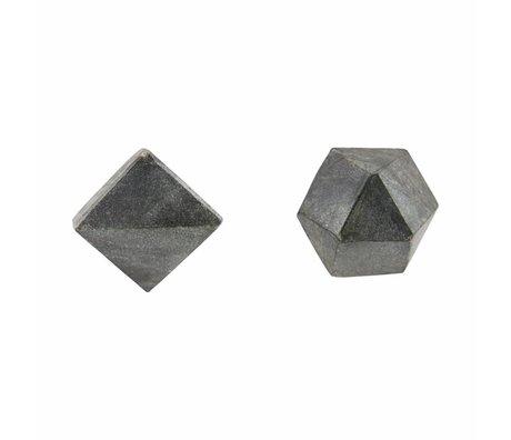 Housedoctor Wandknop Cubes set van 2, zwart marmer ø2,2cm