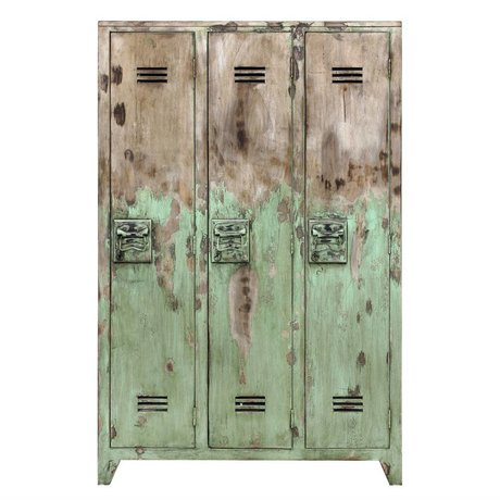 HK-living Kast locker hout industrieel groen geschuurd 35x103x155cm