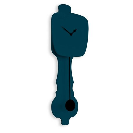 KLOQ Klok petrol blauw, zwart hout 75,5x26,2x8cm