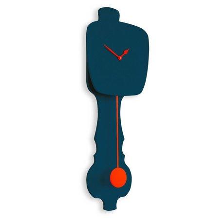 KLOQ Klok petrol blauw, oranje hout 75,5x26,2x8cm