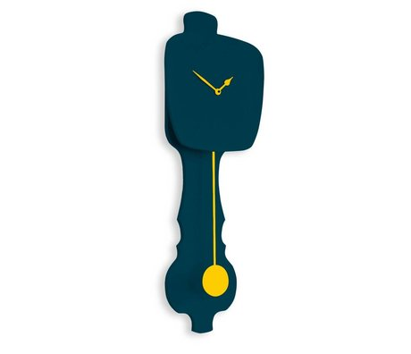 KLOQ Klok petrol blauw, geel hout 75,5x26,2x8cm