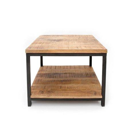LEF collections Salontafel Industrieel bruin zwart hout metaal 80x80x46cm