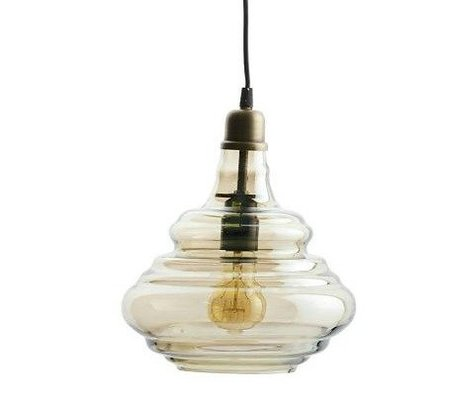 BePureHome Hanglamp Pure brass goud glas 28xØ25cm