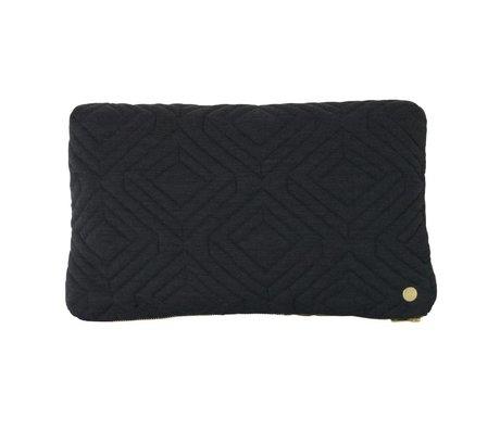 Ferm Living Sierkussen Quilt donker grijs textiel 40x25cm