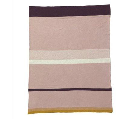 Ferm Living Deken Little Stripe roze katoen 80x100cm