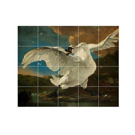 IXXI Wanddecoratie Asselijn De bedreigde zwaan multicolour papier S 100x80cm