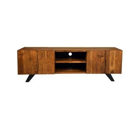 LEF collections TV meubel Temba bruin hout metaal 160x45x50cm