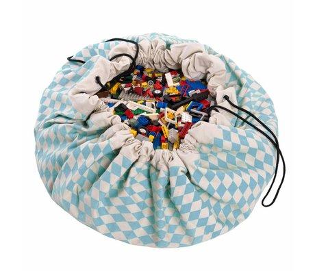 Play & go Opbergzak/speelkleed Diamond Blue blauw katoen ø 140cm