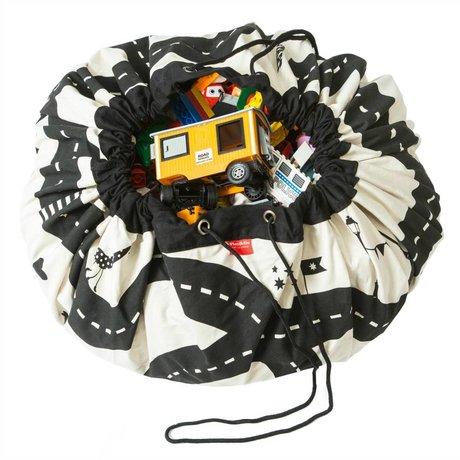 Play & go Opbergzak/speelkleed Roadmap zwart wit katoen ø 140cm