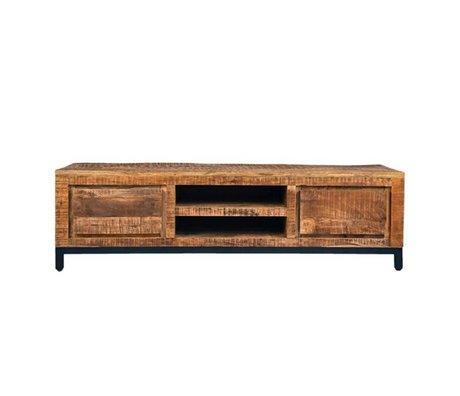LEF collections TV meubel Gent bruin zwart hout metaal 160x45x45cm