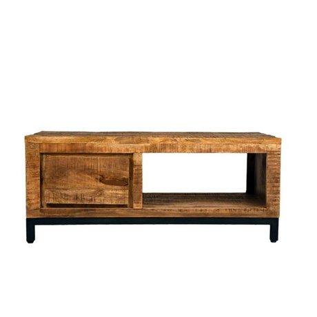 LEF collections Salontafel Gent bruin zwart hout metaal 110x60x45cm