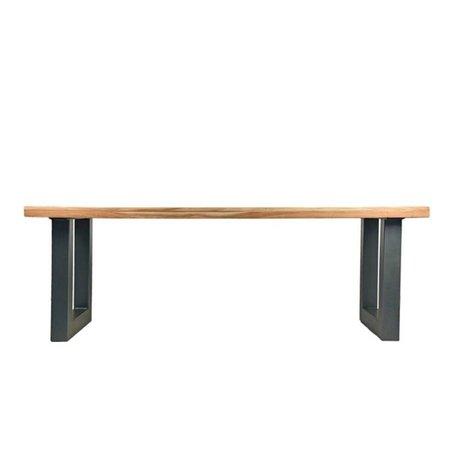 LEF collections Eettafel Milaan bruin zwart hout metaal 200x95x76cm