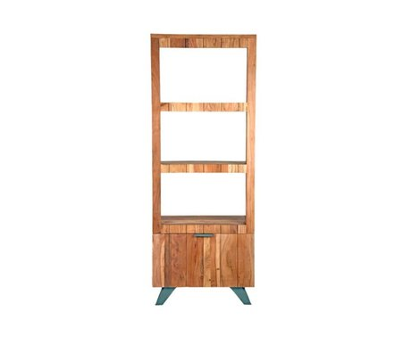 LEF collections Boekenkast Milaan bruin zwart hout metaal 72x48x188cm