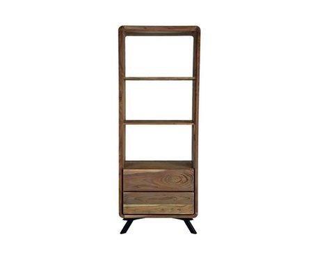 LEF collections Boekenkast Havana bruin hout metaal 70x45x181cm