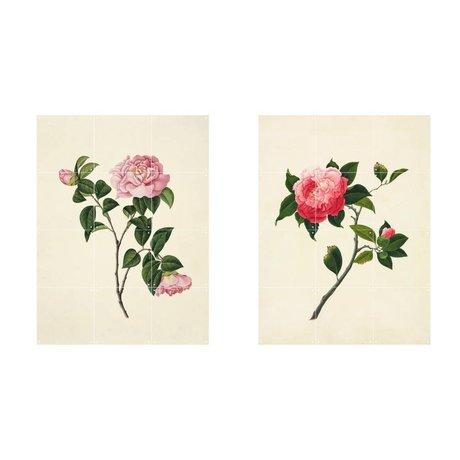 IXXI Wanddecoratie Reeves Two flowers roze groen papier set van twee S 120x80cm