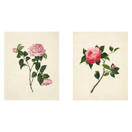 IXXI Wanddecoratie Reeves Two flowers roze groen papier set van twee L 160x100cm
