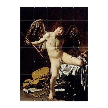 IXXI Wanddecoratie Caravaggio Cupido als winnaar multicolour papier L 100x140cm