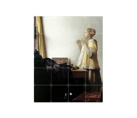 IXXI Wanddecoratie Vermeer Vrouw met parelsnoer multicolour papier S 80x100cm