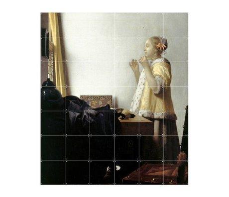 IXXI Wanddecoratie Vermeer Vrouw met parelsnoer multicolour papier L 120x140cm