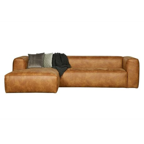 LEF collections Hoekbank Bean longchair links cognac bruin leer 305x73x96/175cm