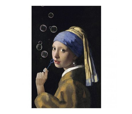 Arty Shock Schilderij Vermeer - Meisje met de parel - The bubble edition XL multicolor plexiglas 150x225cm
