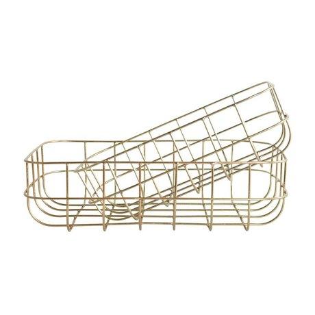 Housedoctor Draadmandjes Simply goud ijzer set van twee 16x24x8cm/20x28x8cm