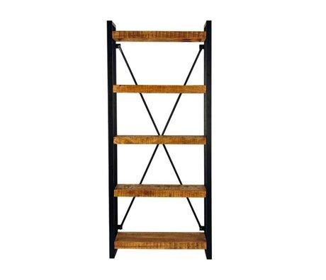 LEF collections Boekenkast brussel bruin zwart hout metaal 80x45x185cm