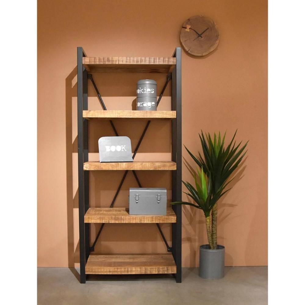 LEF collections Boekenkast brussel bruin zwart hout metaal ...