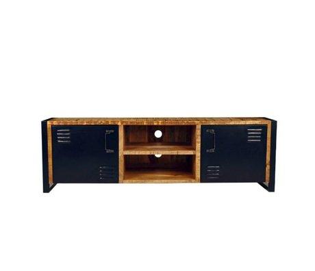 LEF collections TV meubel brussel bruin zwart hout metaal 160x45x50cm