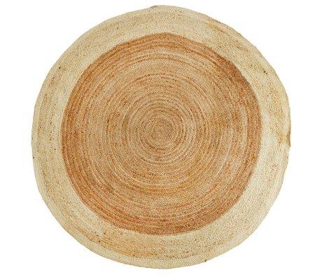 Madam Stoltz Vloerkleed rond naturel bruin wit jute Ø180cm