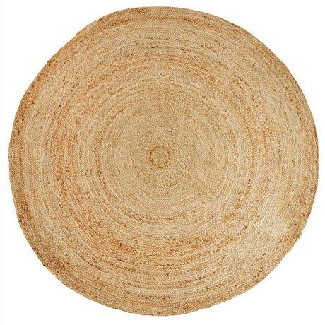 Madam Stoltz Vloerkleed rond naturel bruin jute Ø180cm