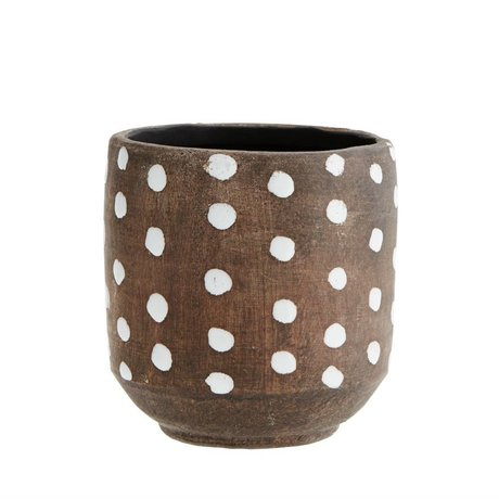 Madam Stoltz Bloempot Dots donker bruin wit terracotta 13x13cm