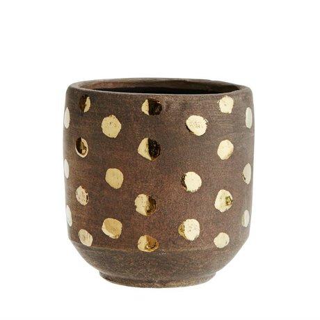 Madam Stoltz Bloempot Dots donker bruin goud terracotta 13x13cm