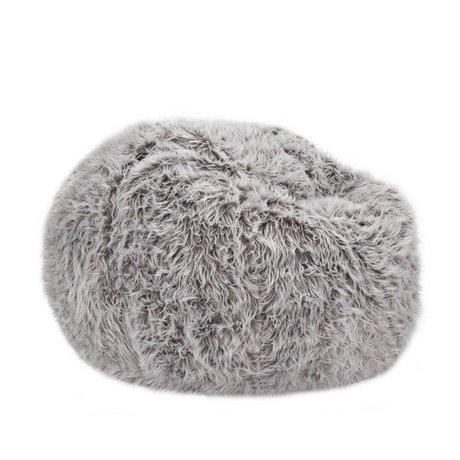 Vetsak Zitzak Flokati eenpersoons grijs polyester Ø110x70cm 600 liter