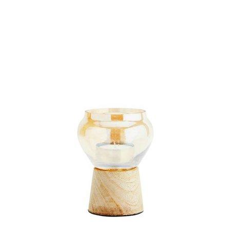 Madam Stoltz Waxinelichthouder goud glas hout 9x12cm