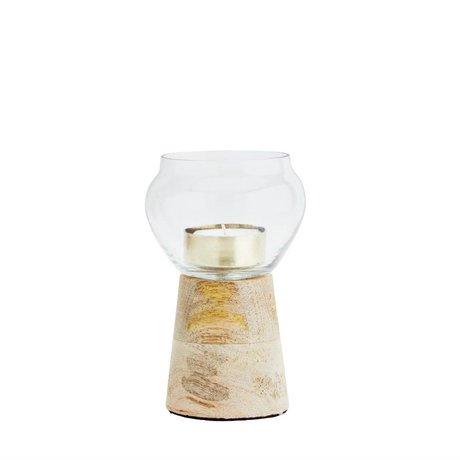 Madam Stoltz Waxinelichthouder transparant glas hout 9x14cm