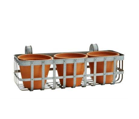 Madam Stoltz Bloembak balkon grijs zink 50x20x18cm met 3 terracotta potten
