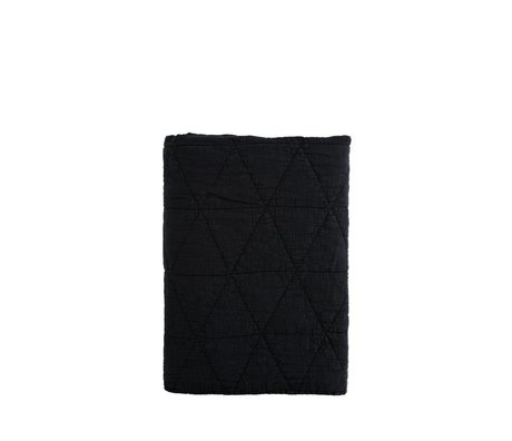 Madam Stoltz Woondeken Quilt zwart katoen 140x200cm