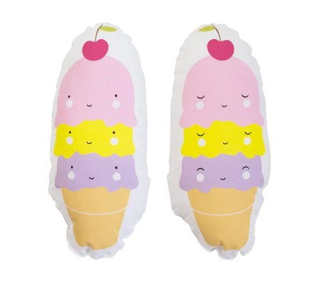 A Little Lovely Company Kussen Icecream cone multicolour katoen 11x27x8cm