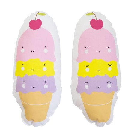 A Little Lovely Company Kussen Icecream cone multicolour katoen 11x27x8cm