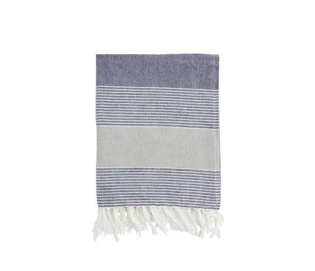 Madam Stoltz Handdoek blauw wit gestreept groen katoen 100x170cm