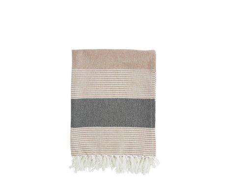 Madam Stoltz Handdoek bruin wit gestreept grijs katoen 100x170cm