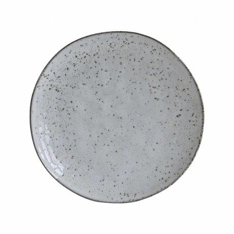 Housedoctor Dessert bord Rustic grijs blauw keramiek ø20,5x2cm