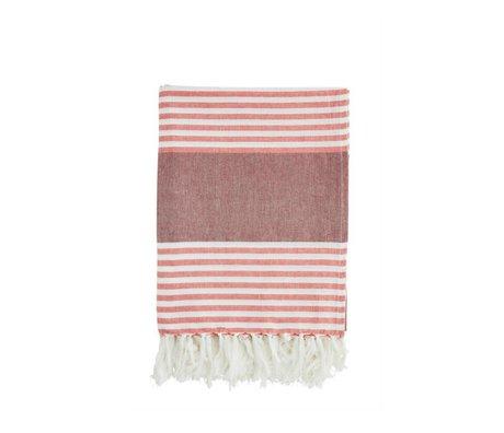 Madam Stoltz Handdoek rood wit gestreept bordeaux katoen 100x170cm
