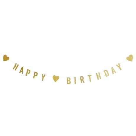 Madam Stoltz Slinger happy birthday glitter goud papier 1M