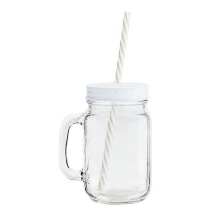 Madam Stoltz Drinkbeker transparant glas witte deksel Ø10x13,5cm