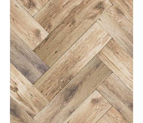 KEK Amsterdam Behang Visgraat vloer donkerbruin vliespapier 97,4x280cm